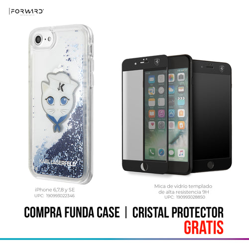Funda Case Karl Choupete Glitter Azul iPhone 6, 7, 8 y SE