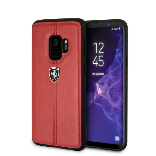 Funda Case De Cuero Ferrari Raya Rojo Para Galaxy S9 - ForwardContigo