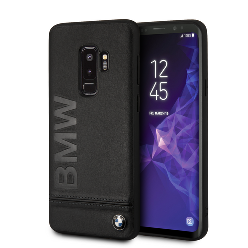Case Funda BMW piel negra letras suaje S9 Plus - ForwardContigo