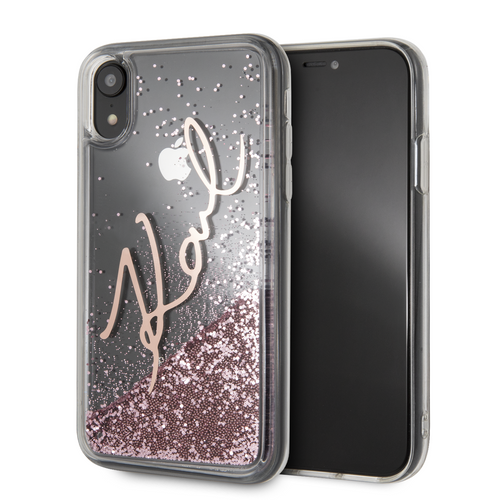 Case Funda firma Karl Lagerfeld brillo rosa iPhone XR - ForwardContigo
