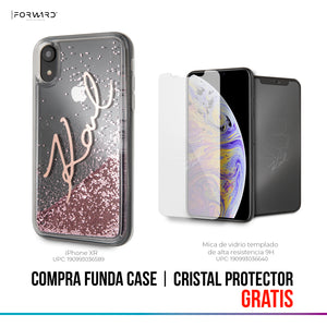 Case Funda firma Karl Lagerfeld brillo rosa iPhone XR