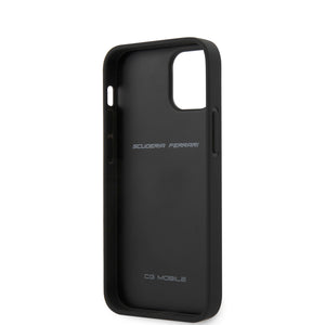 Case/Funda Ferrari Piel costura vertical negra iPhone 12 Mini