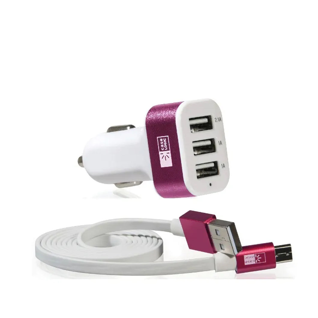 Cargador para Auto 3 Puertos Rosa con cable Micro USB Case Logic - ForwardContigo