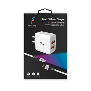 Dual USB Travel Charger con Cable Micro USB - Forward - ForwardContigo