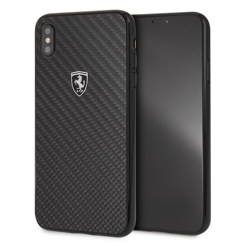 Case Funda Ferrari fibra de carbon negra iPhone XS Max - ForwardContigo
