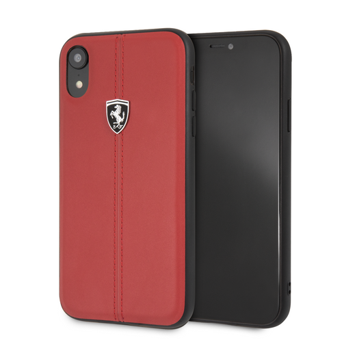Case Funda piel Roja Ferrari logo plata iPhone XR - ForwardContigo