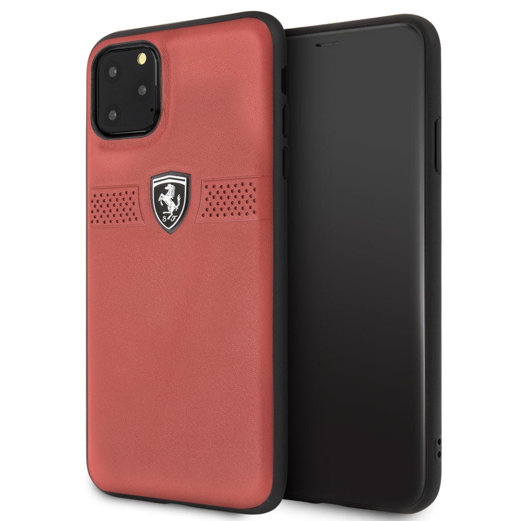 Funda Case Piel Ferrari Perforado rojo iPhone 11 PRO MAX