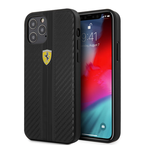 Case/Funda  Ferrari carbono Rayado Negro iPhone 12 Pro Max