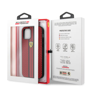 Case/Funda Ferrari carbono Rayado Rojo iPhone 12 Pro Max