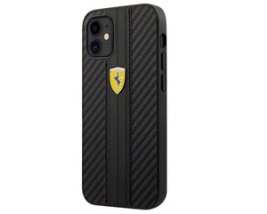 Case/Funda Ferrari Carbono rayado negro iPhone 12 Mini