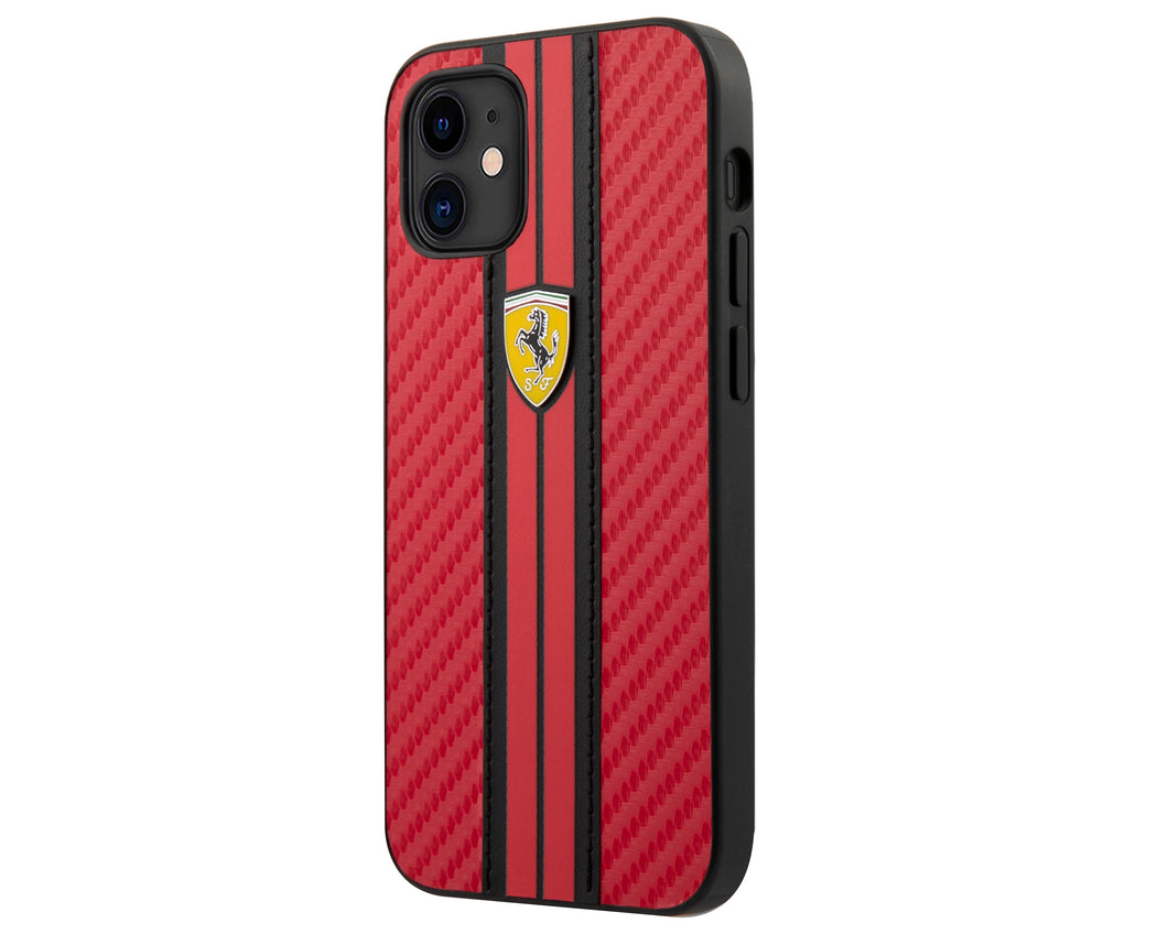 Case/Funda Ferrari carbono rayado rojo iPhone 12 Mini