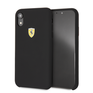 Funda Case De Silicona Ferrari Logo Negro Para iPhone Xr - ForwardContigo