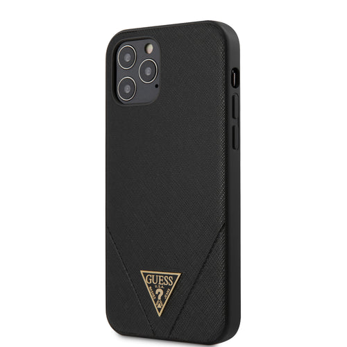 Case/Funda GUESS saffiano costura negra para  iPhone 12 y iPhone 12 Pro