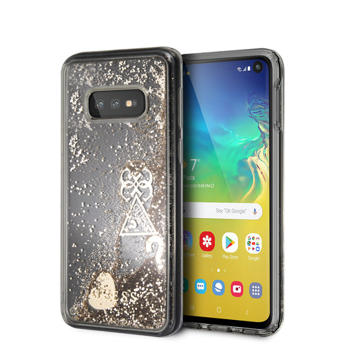 Case Funda Guess Brillantina corazones Dorado Samsung S10e - ForwardContigo