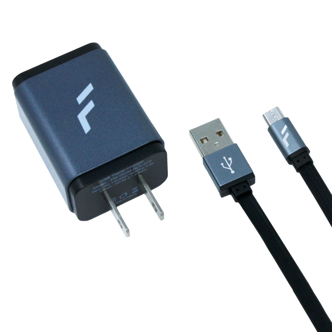 Cargador rápido de pared Micro USB Gris Forward - ForwardContigo