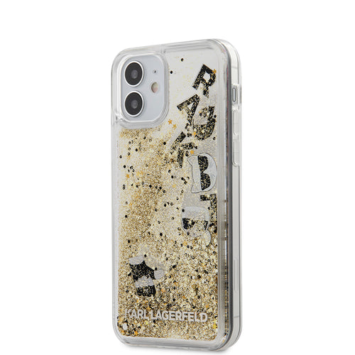 Case/Funda Karl Lagerfeld Transparente adorno Flotante dorado iPhone 12 Mini
