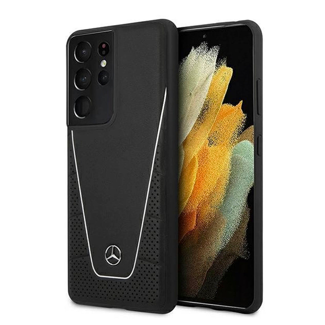 Funda Case Mercedes Benz Quilted & Smooth Negro Samsung S21 Ultra