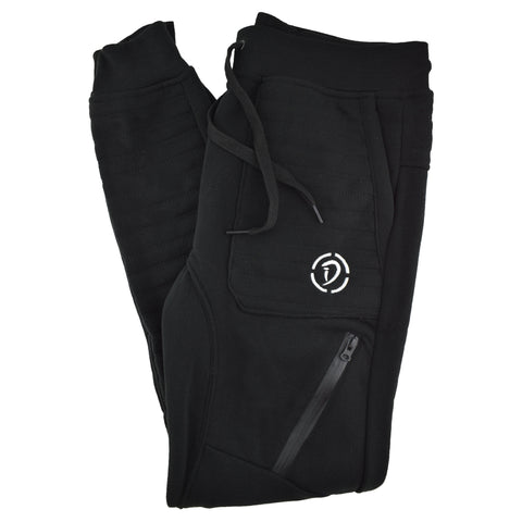 Drawstrings & Zippers Joggers | Black X Black