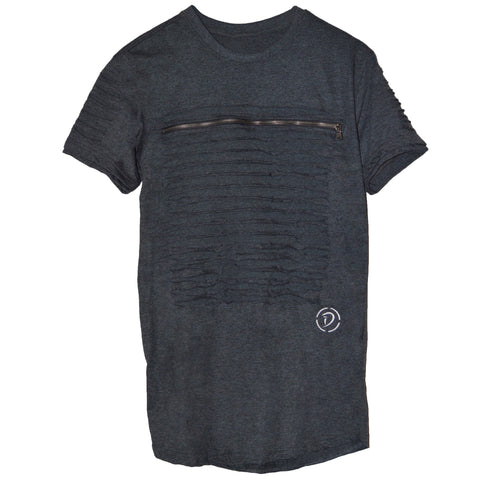 Slits & Zippers (Sq) Tee | Grey