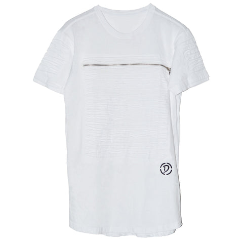 Slits & Zippers (Sq) Tee | White