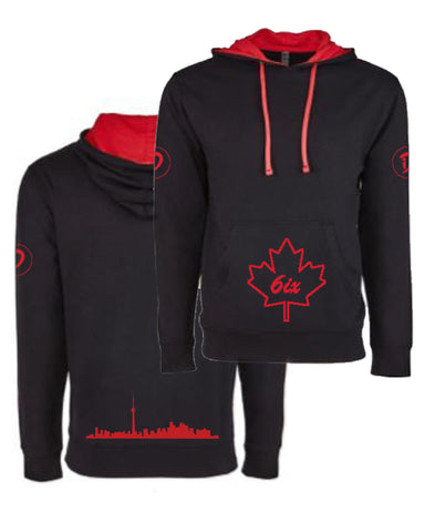 6ix Maple Leaf Youth Pullover Hoodie | Red X Black