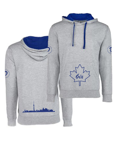 6ix Maple Leaf Youth Pullover Hoodie | Blue X Grey