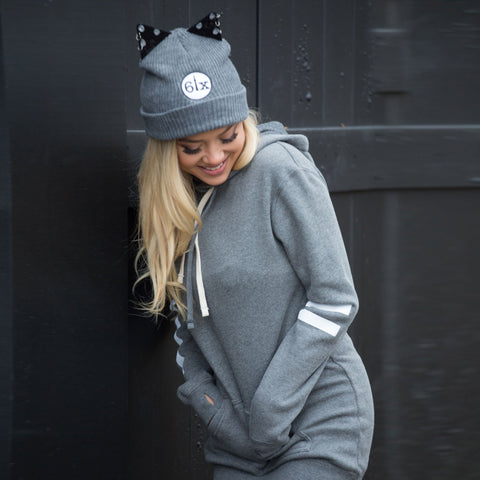 6ix Cat Ears Beanie Toque + Laced Pullover Hoodie Dress
