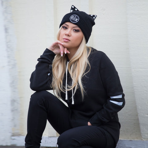6ix Cat Ears Beanie Toque | Black X Black