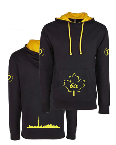 6ix Maple Leaf Youth Pullover Hoodie | Gold X Black
