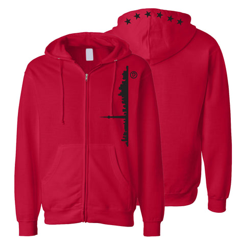 Skyline 6ix Stars Youth Zipper Hoodie | Black X Red