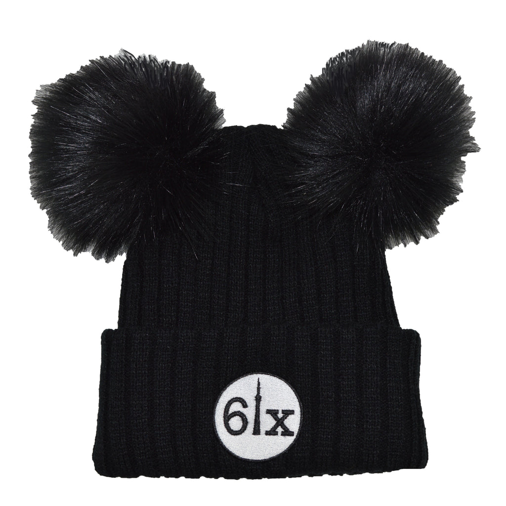 6ix Double Pom Beanie Toque 2 | White X Black