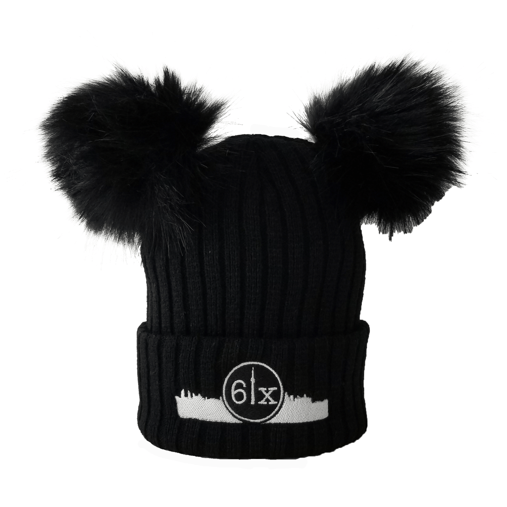 6ix Double Pom Kids Beanie Toque | White X Black