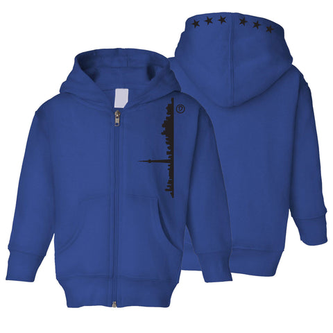 Skyline 6ix Stars Toddler Zipper Hoodie | Black X Blue