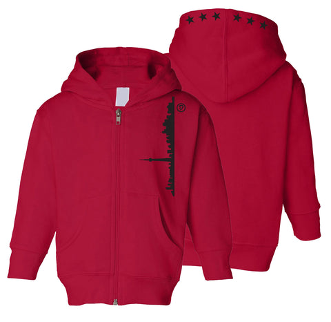Skyline 6ix Stars Toddler Zipper Hoodie | Black X Red