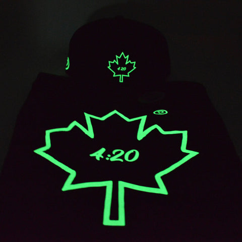 4:20 Maple Leaf Youth Crewneck | Glow in the Dark X Black