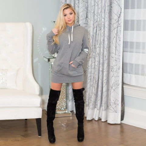 Laced Pullover Hoodie Dress | White X Grey