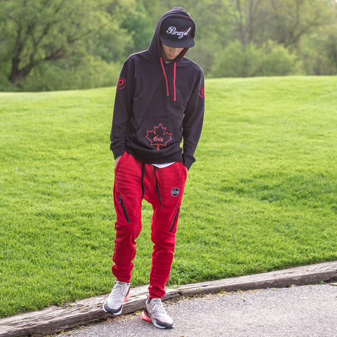 Maple Leaf Pullover Hoodie + Drawstrings & Zippers Joggers