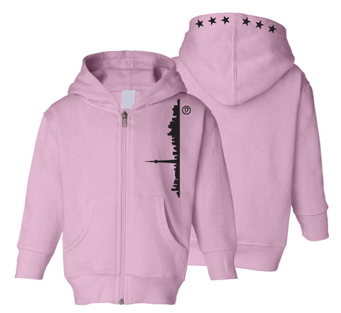 Skyline 6ix Stars Toddler Zipper Hoodie | Black X Pink