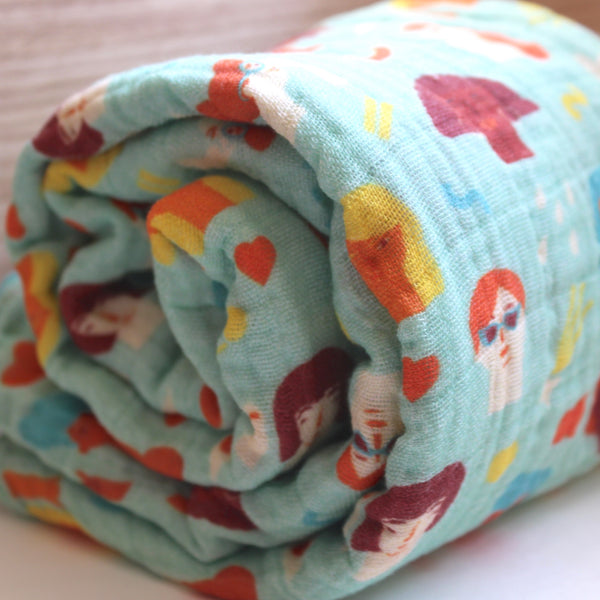 Organic Cotton Little Feminist Swaddle (Mint)
