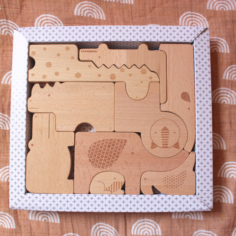 Safari Wooden Animal Puzzle + Play Set