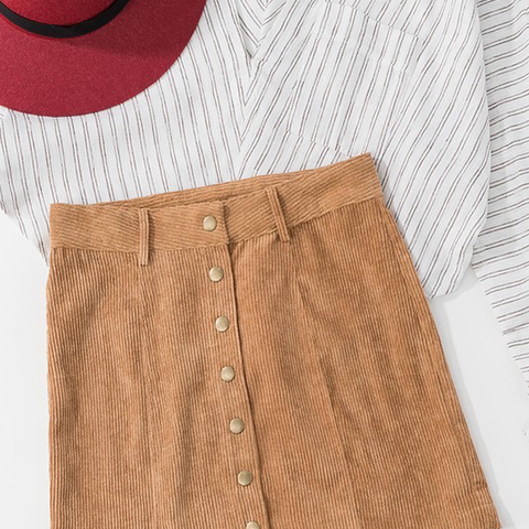 Womens Rouge Corduroy Mini Skirt in Camel - Brother's on the Boulevard
