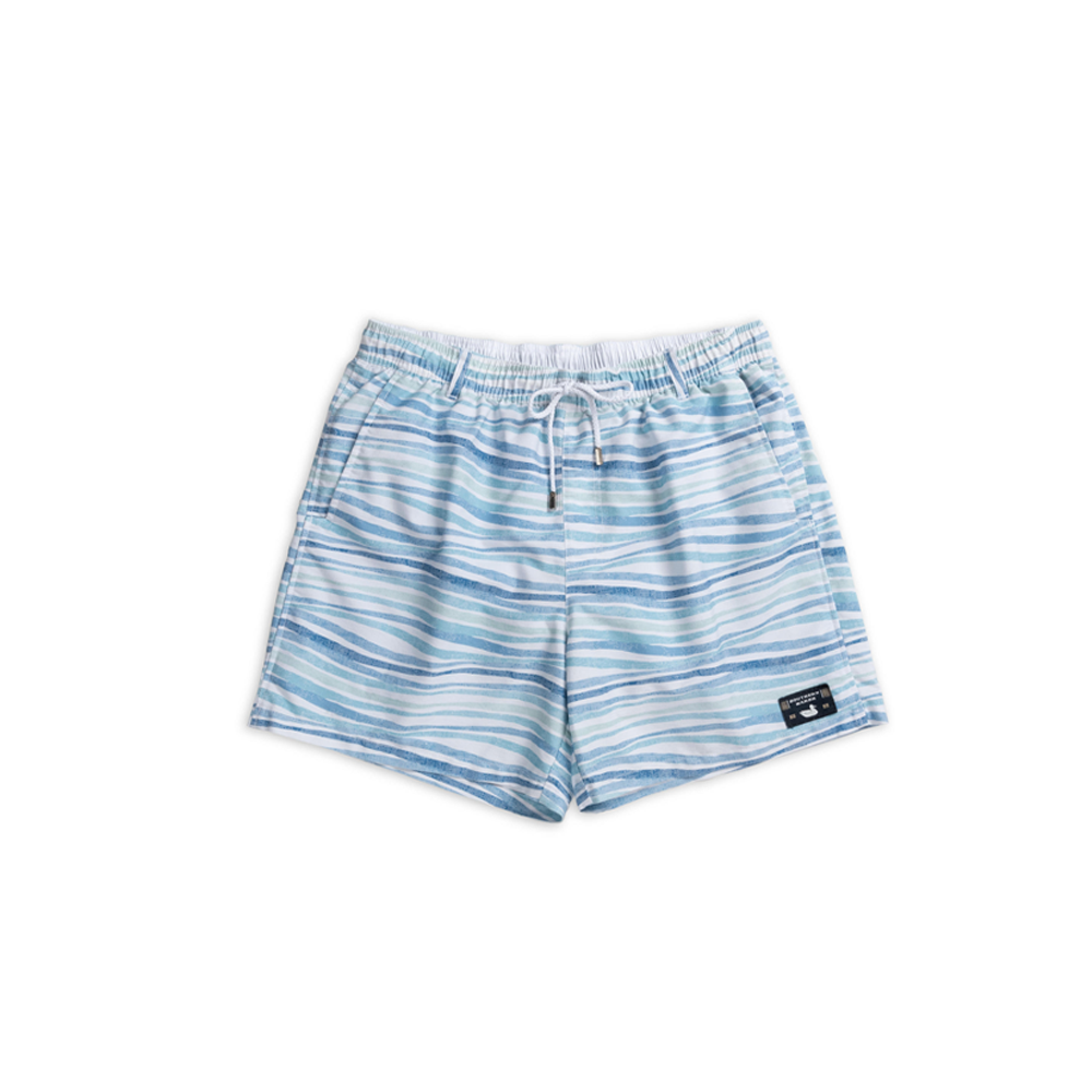 Mens Southern Marsh Waves Seawash Shoals Swim Trunk in Blue and Mint - Brother's on the Boulevard