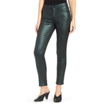 Womens 7 For All Mankind Mid Rise Metallic Twill Ankle Skinny in Emerald - Brother's on the Boulevard