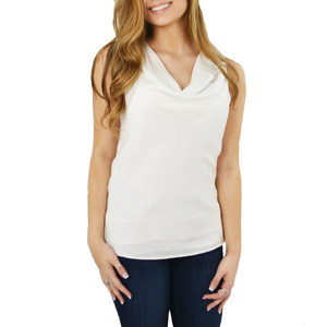 Womens Catherine Kate Paris Cowl Neck Tank in Ivory - Brother's on the Boulevard