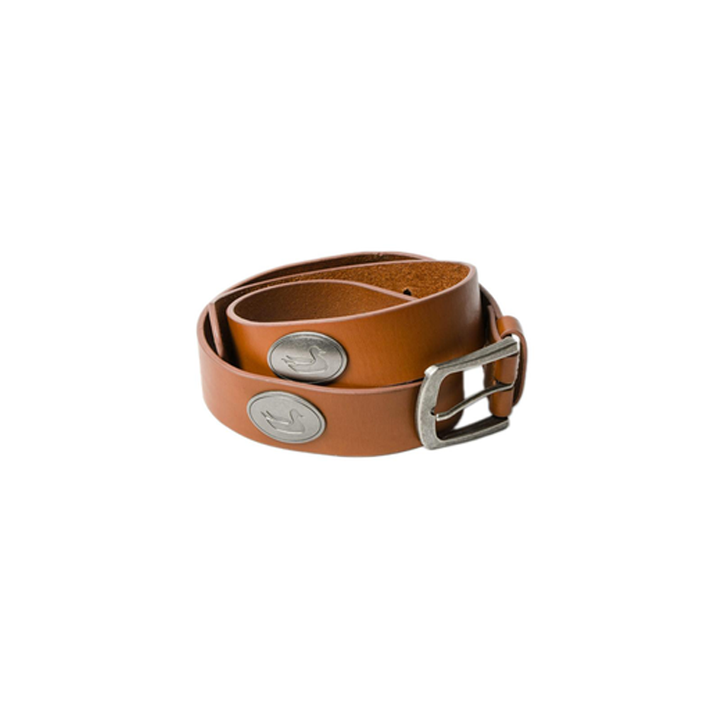 Mens Southern Marsh Heritage Medallion Leather Belt in Walnut with Pewter - Brother's on the Boulevard