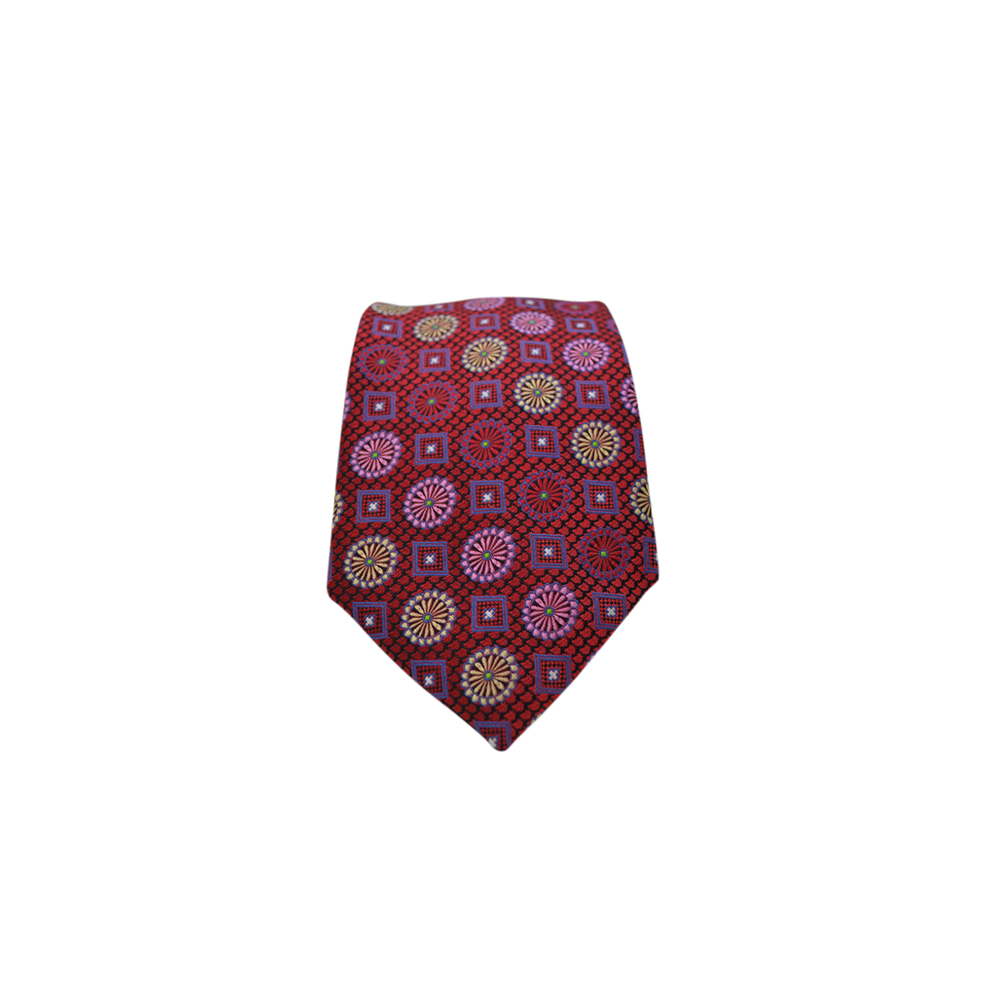 Mens Brother's On The Boulevard Multi-Medallion Necktie in Red and Multi - Brother's on the Boulevard