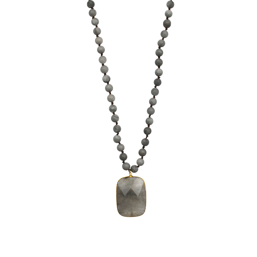 Womens Gypsy Haute Gemstone Necklace in Grey - Brother's on the Boulevard