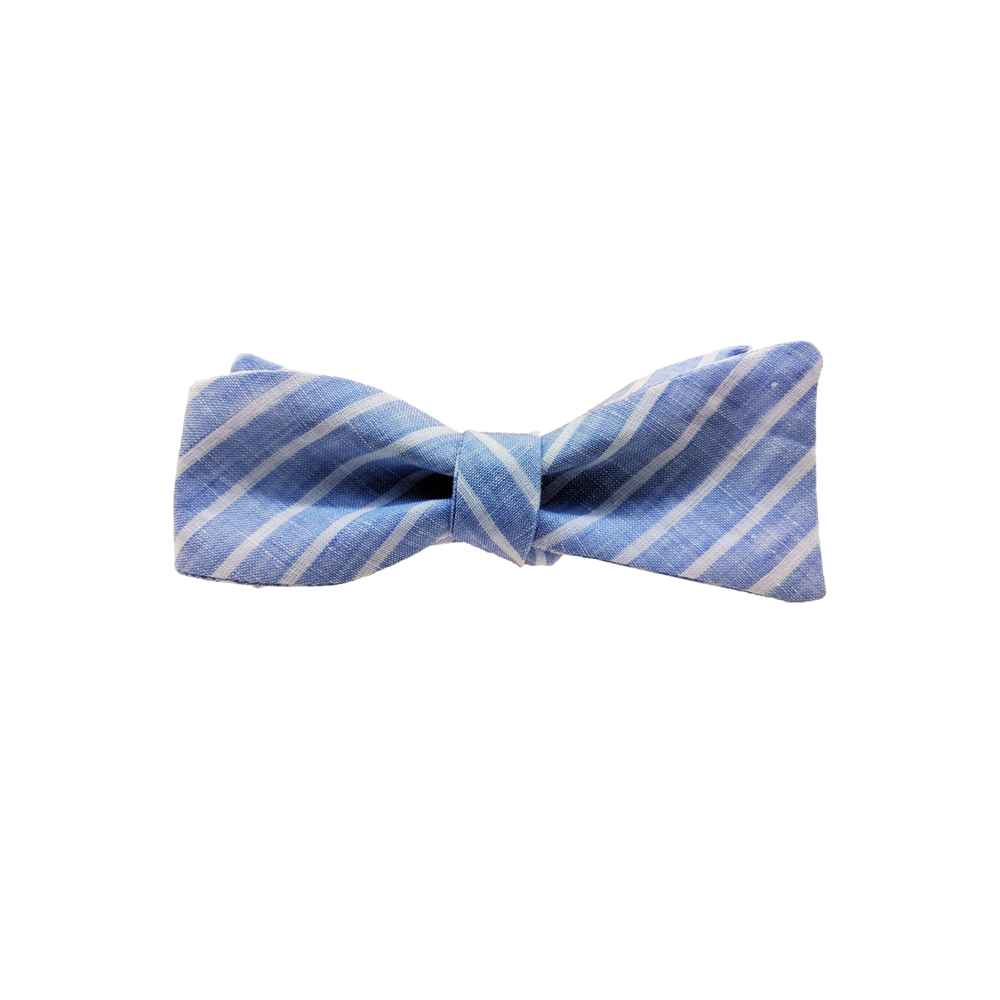 High Cotton Sandbar Linen Stripe Bow Tie in Light Blue