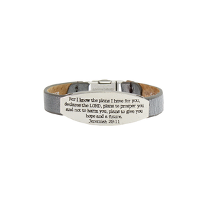 Womens Good Works Jeremiah 29:11 Magnetic Clamp Bracelet in Light Grey - Brother's on the Boulevard