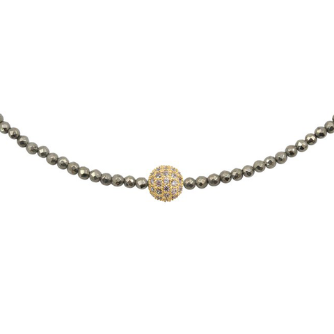 Womens Nicole Leigh Pyrite Avery Necklace in Gold Pave - Brother's on the Boulevard